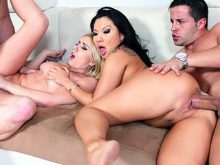 Watch Asa Akira and Lexi Belle - Swinger orgy with naughty bitches video