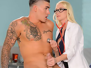 Watch Bespectacled nurse have not had sex for a long time video