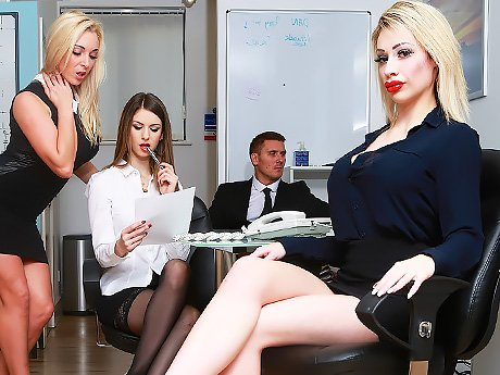 Watch Boss is testing his secretary's tight holes for strength in the office video