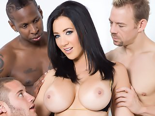 Watch Busty Babe Jayden Jaymes riding four dicks video