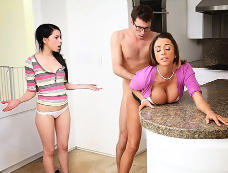 Watch Lucky guy secretly fucks his girl's exotic mom Ariella Ferrera video