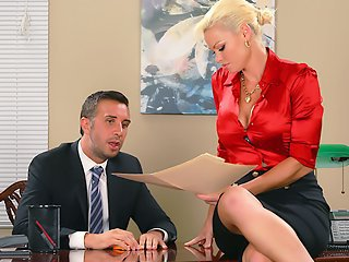 Watch Mature female boss fucks a new employee on the table video