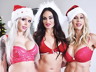 Watch Puma Swede, Claudia Valentine and Nina Elle - Christmas orgy with busty mommy video