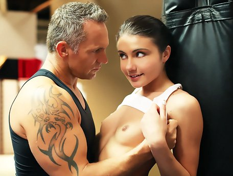 Watch Severe trainer fucks his young student Adria Rae in the gym video