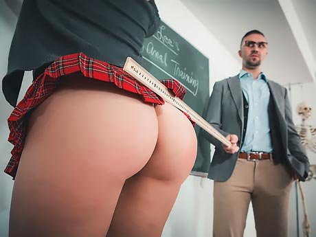 Watch Shy schoolgirl Kimber Woods takes her teacher's cock in her ass video